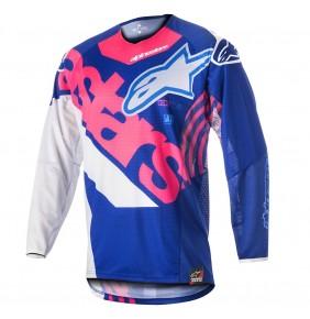 Camiseta Alpinestars Techstar Venom Blue Pink Fluo White 2018
