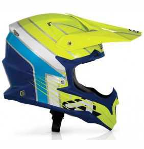 Casco Acerbis Impact Razorblade Blue / Light Blue / Yellow Fluo