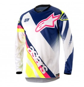 Camiseta Alpinestars Racer Supermatic White Dark Blue Yellow Fluo 2018
