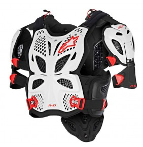 Peto Alpinestars A-10 Full Chest Protector White Black Red