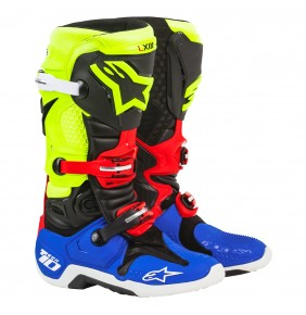 Botas Alpinestars Tech 10 A1 Special Edition Black / Blue / Yellow Fluo / Red