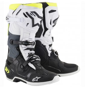 Botas Alpinestars Tech 10 Black / White / Yellow Fluo 2020