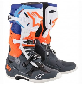 Botas Alpinestars Tech 10 Cool Gray / Orange Fluo / Blue / White 2020