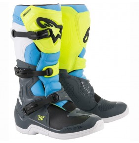 Botas Alpinestars Tech 3 Cool Gray / Yellow Fluo / Cyan