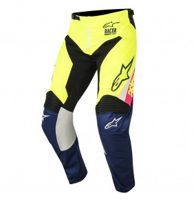Pantalón Alpinestars Racer Supermatic White Dark Blue Yellow Fluo 2018