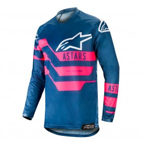 Camiseta Alpinestars Racer Flagship Indigo / Dark Navy / Pink Fluo 2019