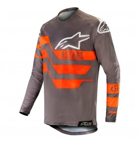 Camiseta Alpinestars Racer Flagship Mid Gray / Anthracite / Orange Fluo 2019