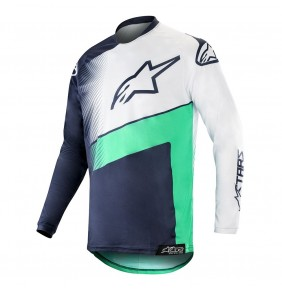 Camiseta Alpinestars Racer Supermatic Dark Navy / Teal / White 2019