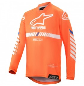 Camiseta Niño Alpinestars Racer Tech Orange Fluo / White / Blue 2020