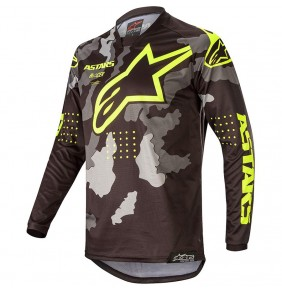 Camiseta Niño Alpinestars Racer Tactical Black Grey Camo / Yellow Fluo