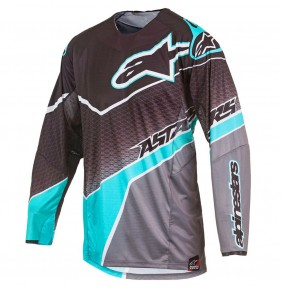 Camiseta Alpinestars Techstar Venom Black Dark Gray Teal 2017