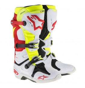 Botas Alpinestars Tech 10 White Red Yellow Fluo Vented