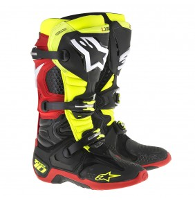 Botas Alpinestars Tech 10 Black Yellow Fluo White Red