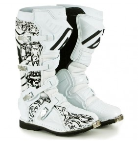 Botas Acerbis Graffiti White Black Swirls