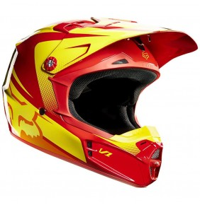 Casco Niño Fox V1 Imperial Red / Yellow
