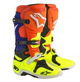 Botas Alpinestars Tech 10 Orange Fluo Blue Yellow Fluo Black
