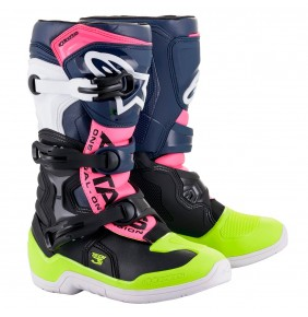 Botas Niño Alpinestars Tech 3S Black / Dark Blue / Pink Flourescent