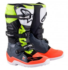 Botas Niño Alpinestars Tech 7S Dark Gray / Red Fluo / Yellow Fluo