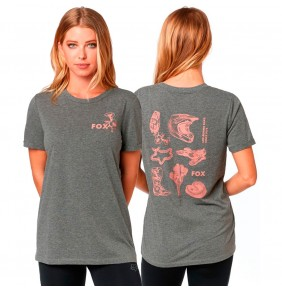Camiseta Chica Fox Live Fast Roll Sleeve Heather Graphite