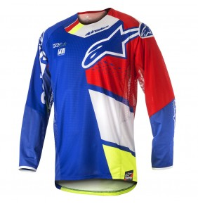 Camiseta Alpinestars Techstar Factory Blue Red White Yellow Fluo 2018