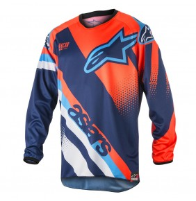 Camiseta Alpinestars Racer Supermatic Dark Blue Orange Fluo Aqua 2018