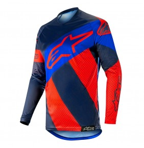 Camiseta Alpinestars Racer Tech Atomic Red / Dark Navy / Blue 2019