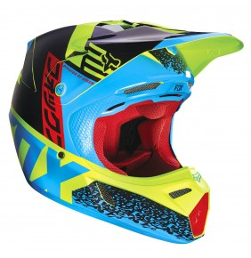 Casco FOX V3 Divizion Blue / Yellow