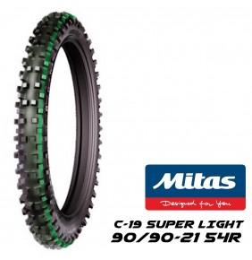 Neumático Delantero Mitas C-19 90/90-21 54R TT Superlight Linea Verde